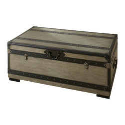 "Steve Silver Furniture - Steve Silver Rowan Trunk in Weathered Gray - The Rowan collection evokes the nostalgic romance of golden-age steam travel, with classic metal fixtures and leather accents. The Rowan Cedar lined trunk is a functional storage space that doubles as a cocktail table, standing 17"" high, with a 44"" x 24"" top. This attractive-Piece complements the Rowan End table and chest."