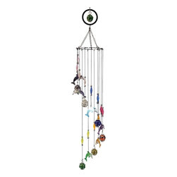 Great World - 33 Inch Multicolored Dolphin Etched Musical Wind Chime Mobile - This gorgeous 33 Inch Multicolored Dolphin Etched Musical Wind Chime Mobile has the finest details and highest quality you will find anywhere! 33 Inch Multicolored Dolphin Etched Musical Wind Chime Mobile is truly remarkable.