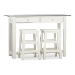 Balboa Wood & Stainless Steel Counter-Height Table & Stools, White