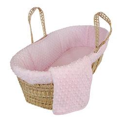 Sleeping Partners - Dimple Velour Moses Basket Set in Pink - Dimple Velour Moses Basket in Pink