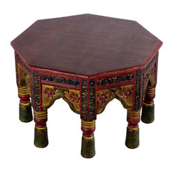 Wooden Octangle Bajoth - This Bajoth table is used as offering a seat to the lords and worship gods in India. It has a multicolor finish to suit any kind of room decor. Ideal for setting up statues and decor on it.