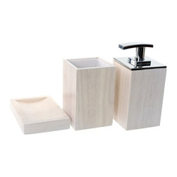 Gedy - Wooden 3 Piece White Bathroom Accessory Set, - Trendy white bathroom accessory set made from wood. Includes soap dish, toothbrush holder, and soap dispenser. Manufactured in Italy. Part of the Gedy Cubico Wood collection. Available in white wood finish. Made from wood. From the Gedy Cubico Wood collection. Designed and built in Italy. Included in set:. Soap dish Gedy PA11-02. Toothbrush holder Gedy PA98-02. Soap dispenser Gedy PA81-02.