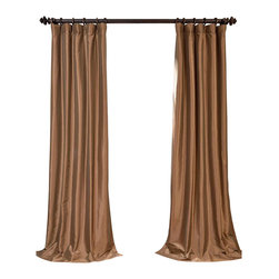 """Exclusive Fabrics & Furnishings - Gold Nugget Blackout Faux Silk Taffeta Curtain - SOLD PER PANEL . 56% Nylon 44% Polyester .Blackout Curtain - Lined (ivory color) & Interlined (black cotton flannel) . 3"""" Pole Pocket with Hook Belt .Dry Clean Only ."""