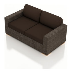 Harmonia Living - Arden Modern Outdoor Loveseat, Coffee Cushions - Cozy up to the Arden Outdoor Wicker Loveseat with Brown Sunbrella® Cushions (SKU HL-ARD-LS-CH-CO) to enjoy your outdoor space in style. Its beautiful wicker is finished with a weathered Chestnut finish and is made from High-Density Polyethylene (HDPE), which ensures that the wicker will neither fade nor peel in regular sun exposure. What makes the Arden Collection unique is its high arms, modern style, and extra-plush cushions, all with a hint of classic traditional looks. Its teak feet elevate the seats in an attractive fashion that accent the wicker. The cushions are made from Sunbrella fabric, which is available in a large assortment of shades to give your Arden set the look that fits right into your outdoor space.