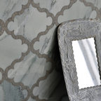 Dervish Stone Mosaic - Dervish, a natural stone mosaic backsplash, is shown in honed Montevideo and Kay's Green.