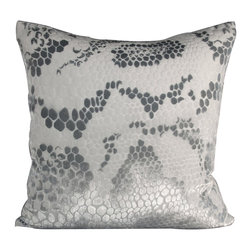 "Snakeskin Velvet White Pillow - 24"" - Sumptuous yet restrained, the Snakeskin Velvet Pillow is an ice-white square cushion that perfectly encapsulates the principles of today's traditional luxury: superb handcrafted materials, versatile coloration, pleasurable texture, and instant personality. A burnout process performed by textile experts transforms the silk-blend velvet into a magnificent texture inspired by the scales of snakeskin leather, all of which ripples silver in the changing light."