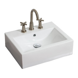 American Imaginations - 20.5-in. W x 16-in. D Above Counter Rectangle Vessel - It features a rectangle shape. This vessel is designed to be installed as an above counter vessel. It is constructed with ceramic. It is designed for a 8-in. o.c. faucet. The top features a 0.75-in. profile thickness. This vessel comes with a enamel glaze finish in White color. Above counter white ceramic rectangle vessel featuring an overflow This Vessel features Chrome hardware. Double fired and glazed for durability and stain resistance. Quality control approved in Canada and re-inspected prior to shipping your order. Faucet and accessories not included.