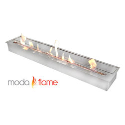 Moda Flame - Moda Flame 47 Inch Ethanol Fireplace Burner Insert - Moda Flame 47 Inch ethanol fireplace insert burner box can be used in most settings where you want to have a naked flame. Placed discretely into a already existing fireplace or you could make an effective lighting choice outdoors built into your garden. Recommended to be used with Moda Fuel ethanol fireplace fuel which provides a smokeless and odor free easy accessible fuel. Burner Insert (1)