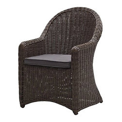 "Strathwood - Strathwood Hayden All-Weather Wicker Bistro Chair - ""The Strathwood Hayden collection features handsome wicker furniture with superb weather resistance and maintenance-free care, making it ideal for outdoor use. Add comfort and style to any outdoor sitting area with this compact bistro chair. Whether placed in the garden, on a porch, or backyard patio, the wicker chair adds welcoming charm to leisurely breakfasts, coffee with a friend, or star gazing on summer evenings. The classically designed cushioned bistro chair provides a high back and curved arms that flow into a full skirt. Thoughtfully crafted, the chair features woven round resin wicker in gray to capture the true patina of wicker, while its aluminum frame with a powder-coat finish provides enhanced durability. The included dark-gray cushion (fabric made from 100% polyester) offers added comfort and eye-catching good looks. Purchasing two makes the perfect pair, and the chair coordinates beautifully with Strathwood's matching Hayden table (sold separately). Overall, the bistro chair measures 27 inches long by 24 inches wide by 35 inches tall and weighs 19 pounds including the cushion. No assembly is required. Cushion Care and Cleaning: Gently brush off dirt before it becomes embedded in the fabric and wipe up any spills as soon as they occur. Gently spot clean only with mild soap and cool water using a sponge or soft brush, then air dry the cushion in a sunny location. Both the chair and the cushion should be brought indoors or securely covered during inclement weather and stored in a dry place when not in use."""