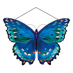 Joan Baker - Joan Baker Blue Butterfly Suncatcher - Butterflies are nature's mini masterpieces! Our art glass Suncatchers show them off in all their glorious variety of patterns and colors! These extra large pieces turn your window into a stunning showcase.