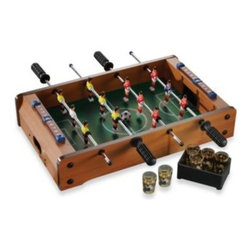 Jay Import Co. Inc. - Foosball Tabletop Game - This portable foosball table is sure to be a hit at your next party. Constructed of composite materials and glass.