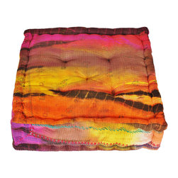 Tie Dye Brown Floor Cushion, Brown, Small - Cotton/polyfill. Made in India. Surface clean.