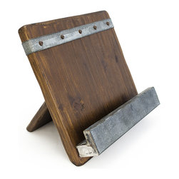 Bambeco - 19th Century Reclaimed Wood Cookbook Holder - Prop up recipes with this gorgeous cookbook holder. Made from reclaimed wood salvaged from 19th century European buildings, it features a galvanized steel shelf and strip for an industrial chic addition to décor.   11'' W x 10'' H x 4'' D Wood / steel Imported