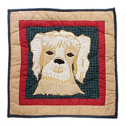 Patch Quilts - Fido Dog Toss Pillow 16 x 16 Inch - Decorative applique Quilted Pillow Bed and Home Ensembles and Bedding items from Patch Magic   - Machine washable  - Line or Flat dry only Patch Quilts - TPFIDODG