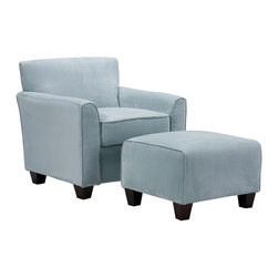 PORTFOLIO - Portfolio Park Avenue Sky Blue Hand-tied Accent Chair and Ottoman - This Portfolio Park Avenue sky blue accent chair will brighten the decor in any room. The stylish microfiber chair features thick foam back cushions that will have you relaxing in comfort.