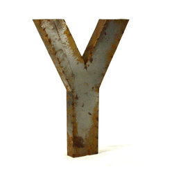 """Kathy Kuo Home - Industrial Rustic Metal Large Letter Y 36""""H - Create a verbal statement!  Made from salvaged metal and distressed by hand for an imperfect, time-worn look."""