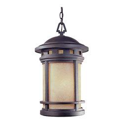 Joshua Marshal - Sedona Hanging Lantern with Mediterranean Patina and Amber Finish - Finish: Bronze