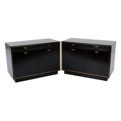 Harvey Probber - Consigned Pair of Harvey Probber, Brass Trimmed Ebony Nightstands - Pair of circa 1960's nightstands finished in ebony gloss lacquer with brass trim and drawer hardware, by Harvey Probber. Nightstands feature a single drawer above a large 2 door cabinet. These nightstands have excellent proportions and extremely well suited for contemporary bed heights.