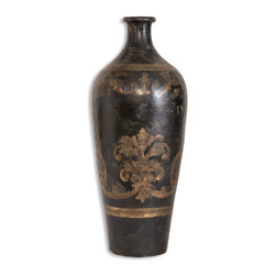 Uttermost - Uttermost Mela Tall Decorative Vase 19317 - This terracotta vase is hand painted in aged black and gold.