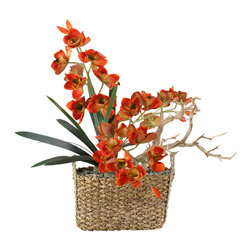 """D&W Silks - Artificial Rust Orchids and Foliage in Rectangle Basket - It's amazing how much adding a plant can change the look of a room or decor, but it can be difficult if your space is not conducive to growing plants, or if you weren't exactly born with a """"green thumb."""" Invite the beauty of nature into your home without all the upkeep with this maintenance-free, allergy-free arrangement of artificial rust orchids and foliage in a rectangle basket. This is not a living plant."""