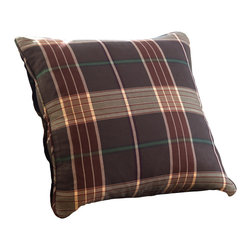 Taylor Linens - Deerfield Porch Pillow - It's no wonder you're mad for plaid. This grid of browns, creams and sages works wonderfully in cottage, city-modern and lodge bedrooms, and coordinates easily with solids, stripes and florals. It features corded piping and a beefy button closure for additional, rest-easy detail.