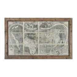 Grace Feyock - Grace Feyock Treasure Map Framed Wall Art X-52043 - This oil reproduction features a hand applied brushstroke finish. The frames feature a unique, reclaimed wood look with medium brown undertones, dark brown wash and light taupe glaze.