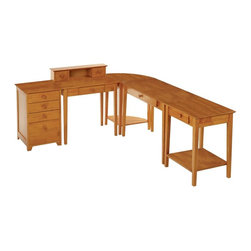 Winsome Wood - 5 Pc Country Style Home Office Set w Honey Fi - This five piece set has everything you need to stay organized and productive in your home office. Keep paperwork arranged neatly in the file cabinet and drawers, while your equipment stays out of the way on the spacious printer table. Individual computer and writing desktops allow room to complete any project with ease. * Computer Writing Desk. Printer Stand. Corner End Table. Small Writing Desk w Hutch. Filing Cabinet. Studio Collection. Honey finish. Beechwood. Assembly required. Studio Computer Desk: 42 in. W x 20 in. D x 29 in. H. Studio End / Printer Table: 23 in. W x 20 in. D x 29 in. H. Studio Corner Table: 20 in. W x 20 in. D x 29 in. H. Studio Writing Desk with Hutch: 30 in. W x 20 in. D x 34.65 in. H. Studio Filing Cabinet: 18.27 in. W x 20 in. D x 28.9 in. HOverall:. Left side: 68.27 in. W x 20 in. D x 28.9-34.65 in. H. Right side: 65 in. W x 20 in. D x 29 in. H