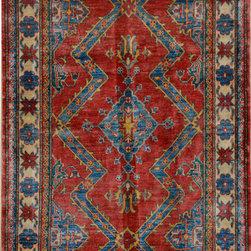 "ALRUG - Handmade Rust Oriental Kazak Rug 3' 6"" x 5' 7"" (ft) - This Afghan Kazak design rug is hand-knotted with Wool on Cotton."