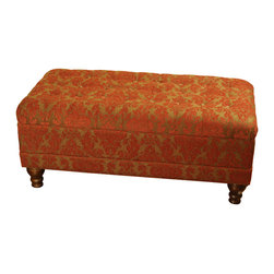 Kinfine - Red Tufted Chenille Storage Bench - The richness of this plush storage bench is evident in every aspect of the piece. From its spectacularly exquisite gold, red and amber toned print upholstery to the plush cushioned top, or the more than ample storage space hidden underneath. This jewel of a storage bench also boasts solid wood feet. Well suited for any well apportioned space in need of a bit of extra storage and rich seating.