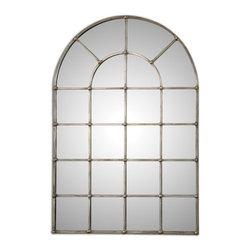 Uttermost - Barwell Arch Window Mirror - Frame is made of hand forged metal finished in an oxidized plated silver.