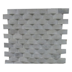 GL STONE LTD - Wooden Grey Marble 3D Cambered Mosaic Tile ( 1 Carton/ 15 sheets ) - This Polished 1 x 2 Brick 3D Cambered Mosaic Wall & Floor Tiles are perfect for any interior/exterior projects. This beautiful color of wooden grey polished finished creates a sleek and attractive design to any room. The mesh backing not only simplifies installation, it also allows the tiles to be separated which adds to their design flexibility. These tiles will give a luminescent quality to any kitchen or any decorated spot in any room. The 3D Cambered Wooden Grey Marble Subway Brick Mosaic tiles can be used for a kitchen backsplash, bathroom flooring, shower surround, dining room, entryway, corridor, balcony, spa, pool, fountain, etc.