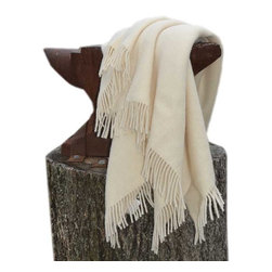 """Happy Blanket - Wool Throw Blanket Throw 51"""" x 79"""", White - Wool is a natural temperature regulator, naturally hypoallergenic, naturally breathable and even improves sleep quality."""