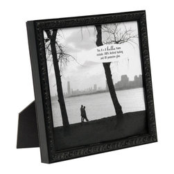 Bella Moulding - Francesca Small Black Ornate Picture Frame, 8x8 - All Bella Moulding Frames include 100% Archival Materials and UV Protective Glass. Classy matte black finish. Moulding imported from Spain, assembled in USA. Includes Mat for 5x7 (Fits 4x6 with Mat) and 8x10 frame (Fits 5x7 with Mat).