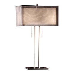 Crestview - Altus Twin Light Table Lamp - Double up on the style with this chic table lamp. Designed in twos — two chrome rods, two lights, two light pulls and two shades — this one adds up to one great look beside your sofa, on your entry table or on your desk.