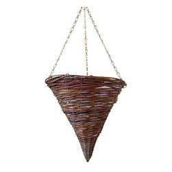 "Master Garden Products - Rattan Cone Hanging Tub, 17""h - Willow sticks make excellent lawn ornaments due to its color and texture. Our funnel shaped willow lawn ornament can be decorative as well as functional as a trellis or a cage for climbing vines."
