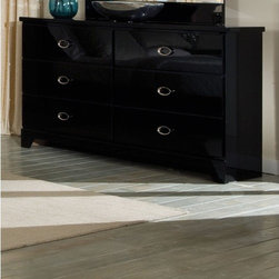 Standard Furniture - Meridian 6 Drawer Dresser - Features: -Meridian Collection. -Black finish. -French dovetail construction with roller side drawer guides. -Six drawers. -Polyurethane tops are shiny, durable and easy to clean. -Made in the USA. -Manufacturer provides one year warranty.