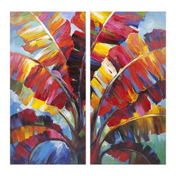 iMax Corporation - Tropicali Oil Painting - Go bananas for this pop-art bright rendition of leafy, tropical splendor in oil on canvas.