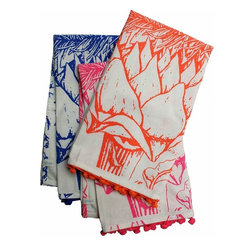 Rhadi Living - Artichoke Tea Towels - Set of 3 tea towels. Neon orange, pink and blue. 27x21.