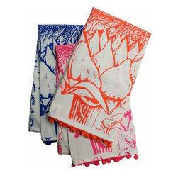 Rhadi Living - Artichoke Tea Towels - Set of 3 tea towels. Neon orange, pink and blue. 27x21.