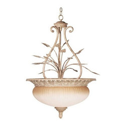 Kenroy - Kenroy 90405NUT Terrace Traditional Inverted Pendant Light - Kenroy KR-90405-NUT Terrace Traditional Inverted Pendant Light