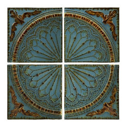 """IMAX CORPORATION - Blue Quarter Medallion Set of 4 Wall Panels - Embossed rustic metal medallion wall decor panels set of four. Set of 4 in various sizes measuring around 18.5""""L x 16.75""""W x 17.25""""H each. Shop home furnishings, decor, and accessories from Posh Urban Furnishings. Beautiful, stylish furniture and decor that will brighten your home instantly. Shop modern, traditional, vintage, and world designs."""