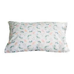 """Trekatte - Merfolk Bedding by Trekatte, Queen Set (2 Cases) - Dream of undersea adventure in this imaginative print of a mermaid and merman. Soft muted aqua on a clean white background. 100% cotton percale. Available as sheet sets.  Comes in drawstring bag. Sets include 1 fitted, 1 flat, and 2 pillow cases (1 case for twin set). Fits mattresses to 16""""."""