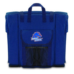 Picnic Time - Boise State Stadium Seat in Navy - The Stadium Seat is ideal for anyone who enjoys sporting events, concerts, or other arena activities. This padded seat is made of durable 600D polyester and provides maximum seat support, which is especially useful when sitting on hard bleacher seats or benches. EPE foam in the seat's core also insulates your seat from cold bleachers. A large zippered pocket keeps all of your essentials within reach. Convenient carry straps allows the seat to be carried as a folded tote. You'll want to take the Stadium Seat to every spectator event to ensure your seating comfort.; College Name: Boise State; Mascot: Broncos; Decoration: Digital Print