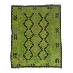 "Darya Rugs - Darya Rugs Kilim, Green, 4'10"" x 6'2"" M1785-383 - Darya Rugs Kilim collection rugs are craftily woven using the flat-weave knotting technique. Kilims have a low-pile, maintaining its original, ethnic and tribal essence. Kilim rugs are flat woven, meaning they are thin, similar to throw rugs."