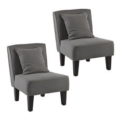Purban Slipper Chairs, Set of 2 Cool Gray - Create a chic, intimate seating area with this pair of Purban slipper chairs. Upholstered in either a bold red-orange, or a sleek cool gray, each is finished with slick black legs for a modern, updated look. The armless design and included pillow combine to create a comfortable, fashionable accent chair for the contemporary home. This clean, classic look blends seamlessly into virtually any home d�cor style.
