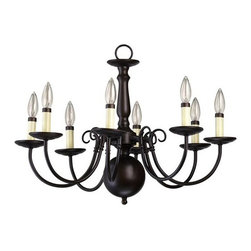 Quorum International - Williamsburg Eight-Light Oiled Bronze with Antique Gold Chandelier - Williamsburg Eight-Light Oiled Bronze with Antique Gold Chandelier Quorum International - 6007-8-86