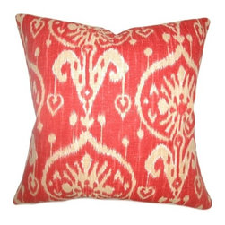 """The Pillow Collection - Yetta Ikat Pillow Strawberry 18"""" x 18"""" - Adorn your room with this strawberry hued throw pillow. This decor pillow is a stylish way to bring life to your room. The luscious strawberry color combined with the traditional ikat print pattern makes this a unique accent piece. This snug 18"""" pillow is made from 100% cotton fabric. Hidden zipper closure for easy cover removal.  Knife edge finish on all four sides.  Reversible pillow with the same fabric on the back side.  Spot cleaning suggested."""
