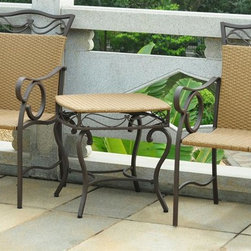 International Caravan - 3-Pc Steel Frame Patio Bistro Set - Includes two deep seated patio chairs and one matching outdoor bistro table. All weather resistant. UV light fading protective coating. Powder coated frame for maximum support and durability. Made from premium wicker resin. Honey pecan and matte brown finish. Assembly required. Overall weight: 65 lbs.The Valencia set of 3 wicker resin deep seated bistro set is a great addition to your garden or patio.