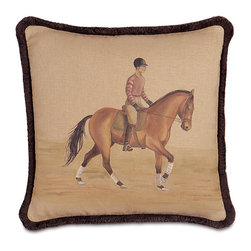 Frontgate - Canter Decorative Pillow - 55% Linen and 45% cotton cover. Hidden zipper. Hand-painted design. Dry Clean. Because this bedding is specially made to order, please allow 4-6 weeks for delivery.. Our hand-painted Canter Decorative Pillow evokes equestrian style with fresh, artistic flair. A portrait of a horsewoman and steed grace the center of the pillow, while ornamental trim along the edge creates a winsome frame. Includes a plump down insert.  .  . .  . . Made in the USA.