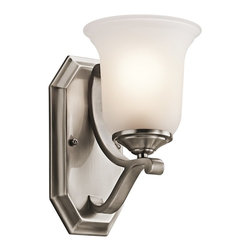 Kichler Lighting - Kichler Lighting Wellington Square Transitional Wall Sconce X-PLC10454 - This sophisticated transitional wall sconce brings traditional style and beauty into your home for an affordable prince. The simple tones and the elegant scrollwork make this light perfect for nearly any room. The soft white shade gives off the perfect amount of light whether you are looking to add light to a darkened wall or simply add accent lighting.